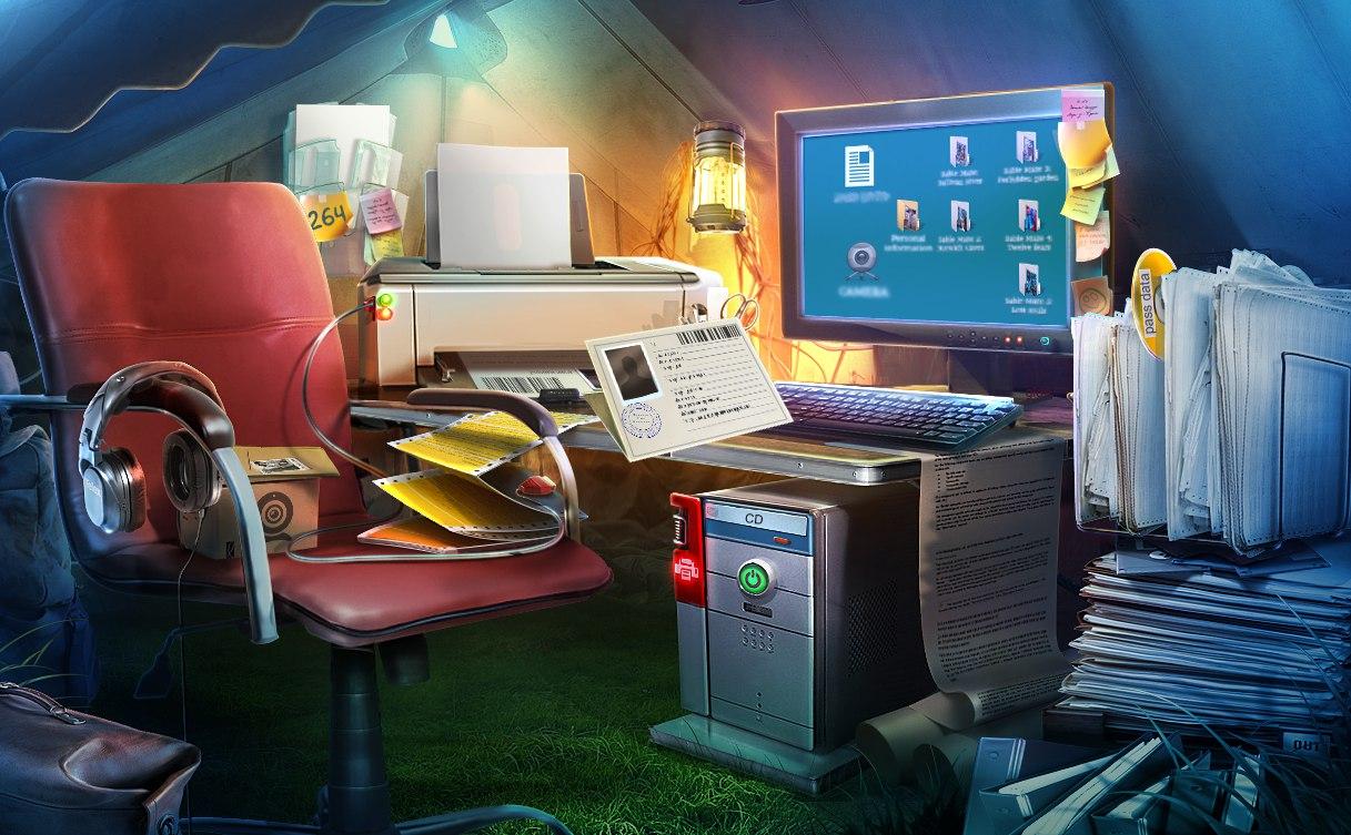 Sable Maze: Sinister Knowledge. Полевой штаб археологов, где игрок должен найти досье и распечатать себе пропуск в библиотеку