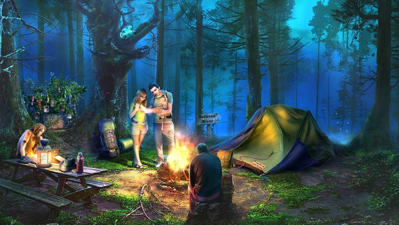 Sable Maze: Soul Catcher. Герой подходит к палаточному лагерю, где его друзья заняты обычными вечерними делами